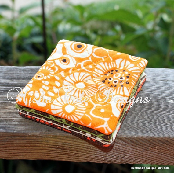 Quilted Coasters Set of 4 Fall Fabric Misha by mishacoledesigns, $12.00