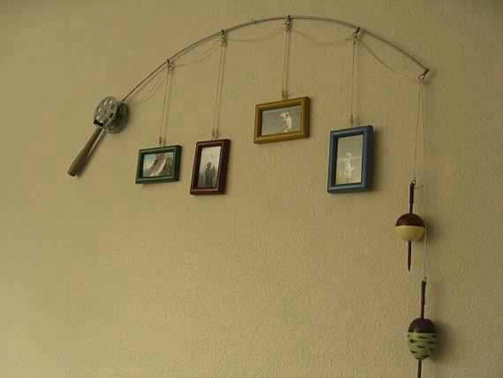 Fishing pole picture frame hanger fishing stuff pinterest for Fishing picture frame