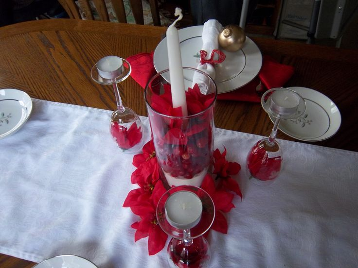Simple Christmas Table Decorations Dream Home Pinterest