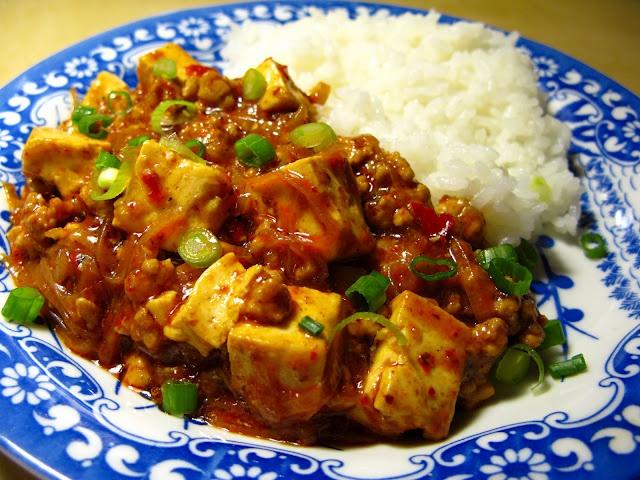 Mapo Doufu (Mapo Tofu) with greens instead of rice