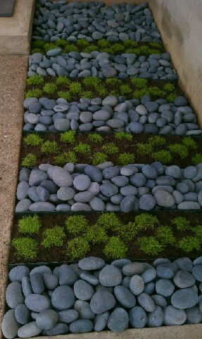 Mexican beach pebble walkway mexican beach pebbles for Beach rocks for landscaping