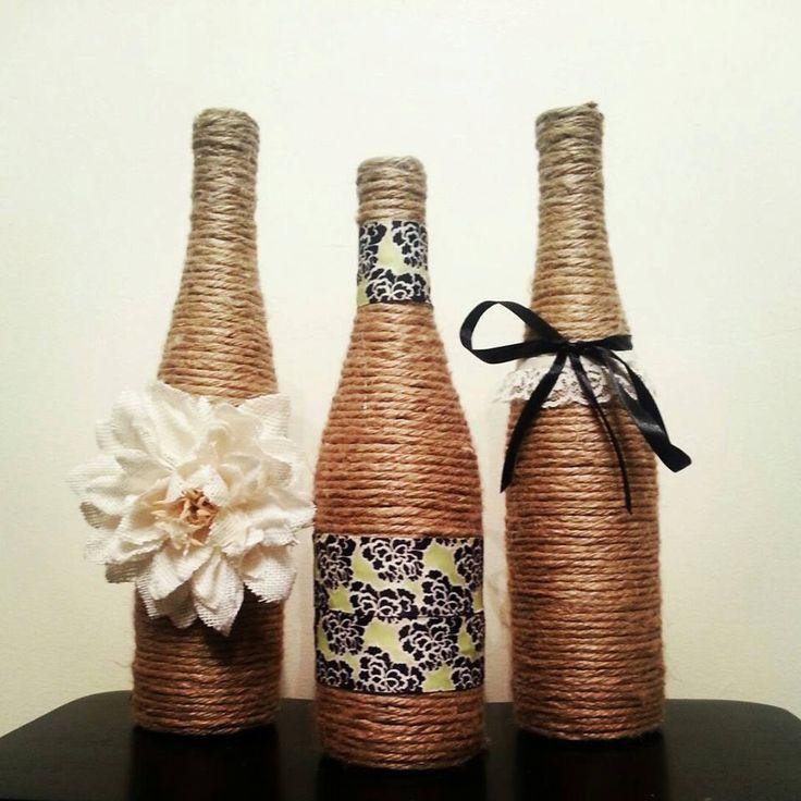 Wine bottle decor set of 3 bottles for Bottle decoration