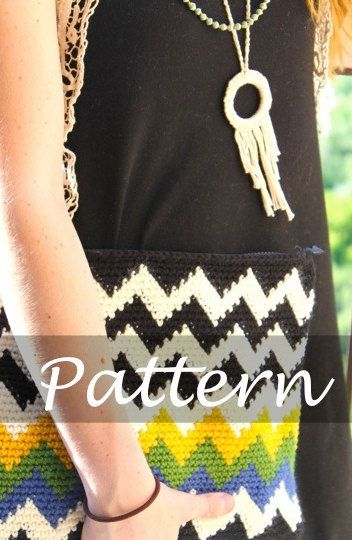Crochet chevron clutch