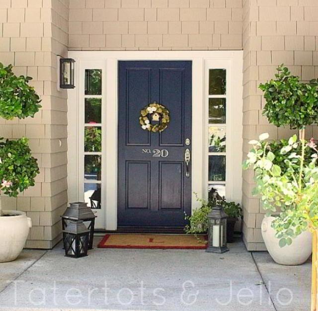 Navy front door planter door color pinterest for Navy blue front door