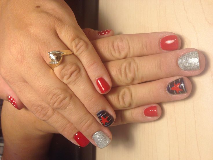 Polished Pinkies Utah: shellac patriotic manicure. Matte red with