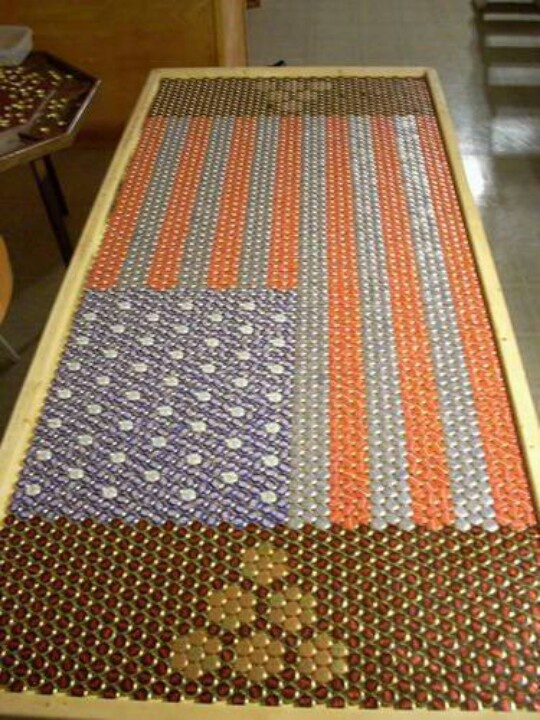 Bottle cap beer pong table american flag ideas for the for Cool beer cap ideas