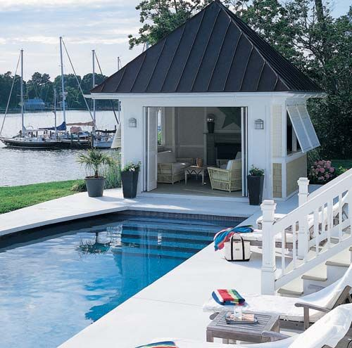 Pool house out of a simple shed from Home Depot It just needs a