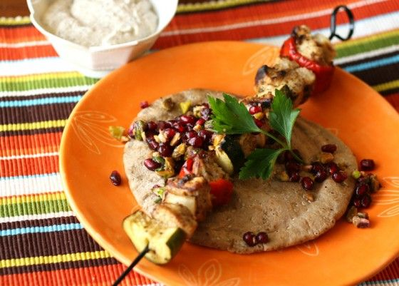 Turkish-Spiced Chicken Kebabs with Pomegranate Relish and Tahini ...
