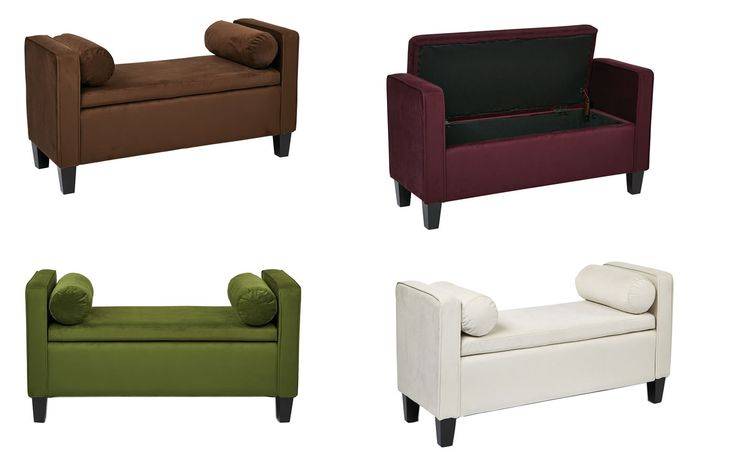 Inspired by bassett cordoba storage ottoman bench w 2 bolster pillows for the home pinterest Purple storage bench