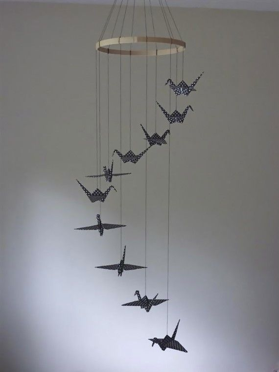 Origami crane mobile children decor baby mobile nursery - Decor mobel ...