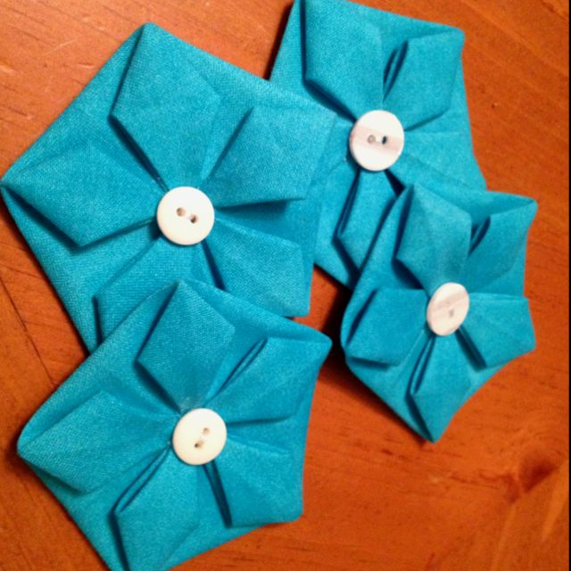 Origami fabric flowers