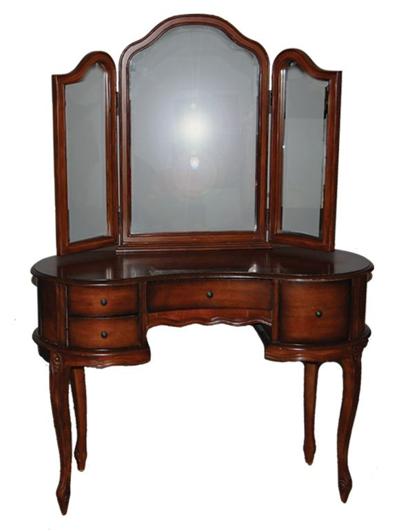 Antique Wooden Makeup Vanity Table With Trifold Mirror Bench