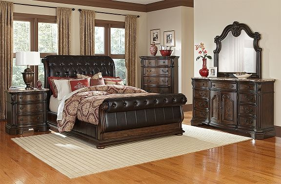 Monticello Pecan II Bedroom Collection - Value City Furniture-Queen Bed $1,099.00