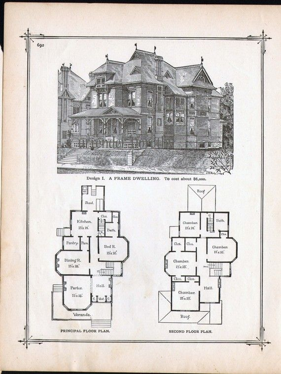 Gothic Frame Dwelling Vintage House Plans 1881 Antique