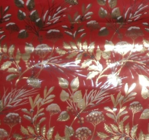 Vtg Gift Wrapping Paper Red Gold Silver Foil Floral Christmas All Occ ...