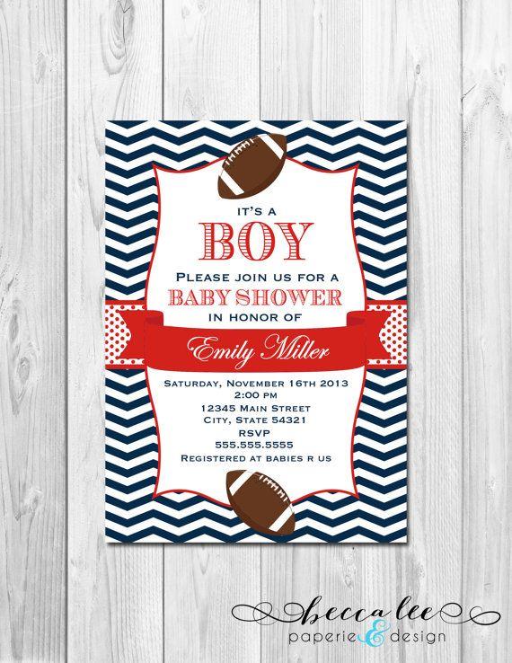 football baby shower invitation chevron stripes diy printable