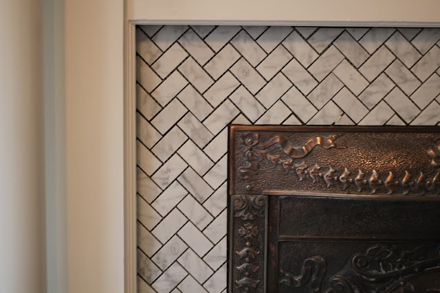 herringbone tile fireplace surround for the home pinterest