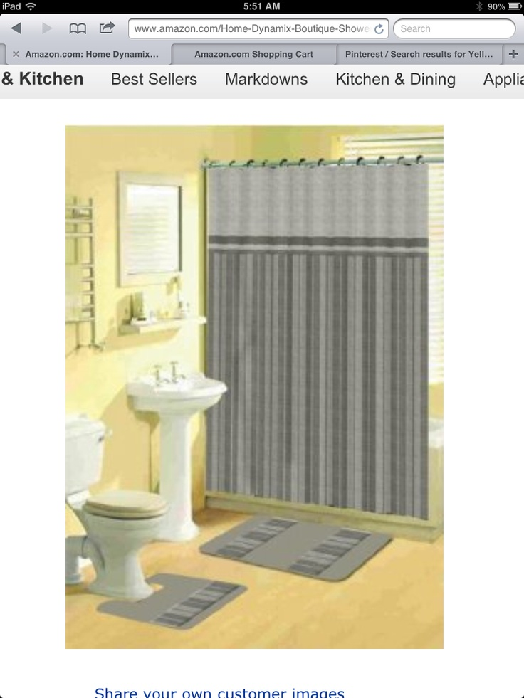 Gray and yellow bathroom bathrooms pinterest for Bathroom yellow and gray