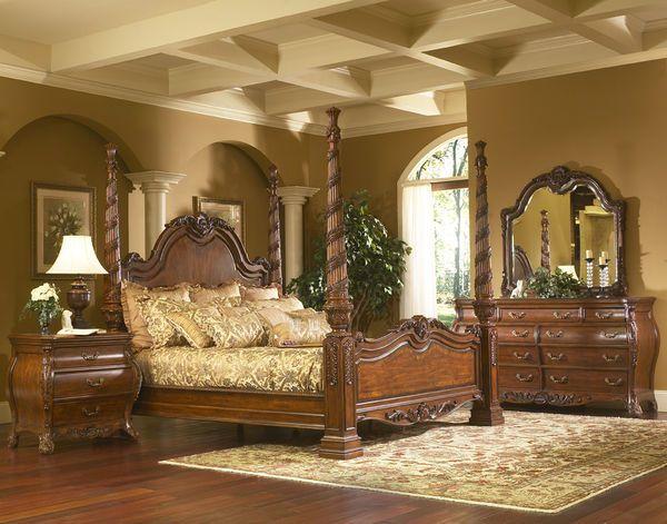 Solana large four poster bedroom set home decor design for Four room set design