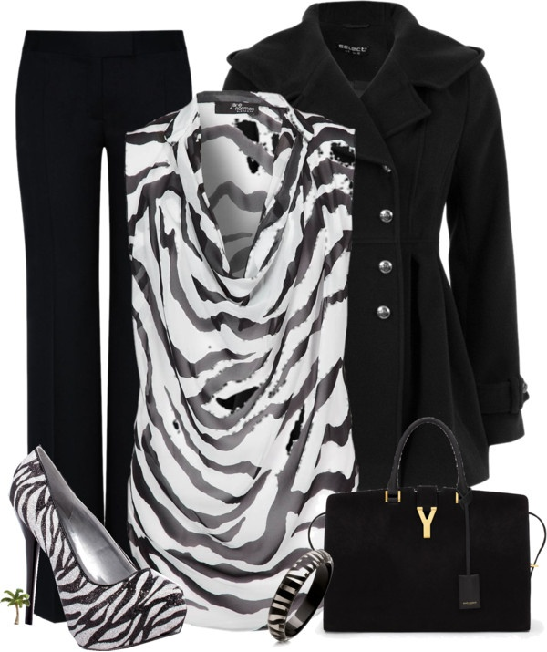 Fun Black and White clothes for the office, maybe white heels.. the top is enough print for me.
