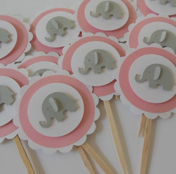 elephant cupcake toppers pink and gray by whimsiesbykaren on etsy 5