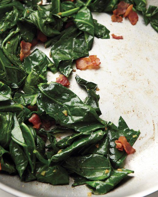 quick cook collards sauteed in 3 minutes! Sauteed Collards with Bacon
