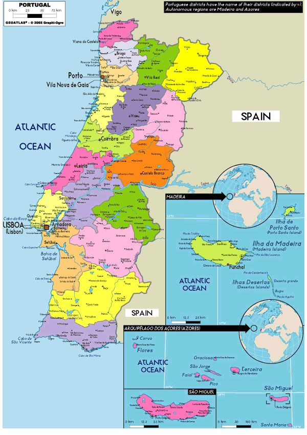 Map Of Portugal We Have Counties And States Other Places
