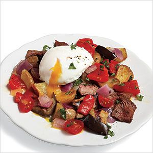 Steak Hash with Poached Eggs Recipe | MyRecipes.com