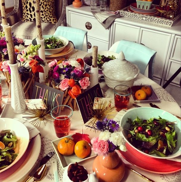 Furbish Thanksgiving Table | Pinterest Picks - A Colorful Thanksgiving Table
