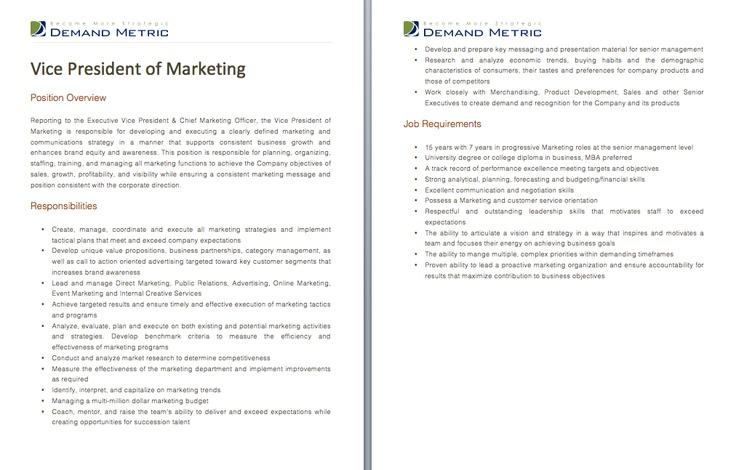 vp marketing job description more information