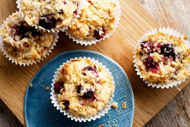 Blackberry, raspberry and oat crumble muffins