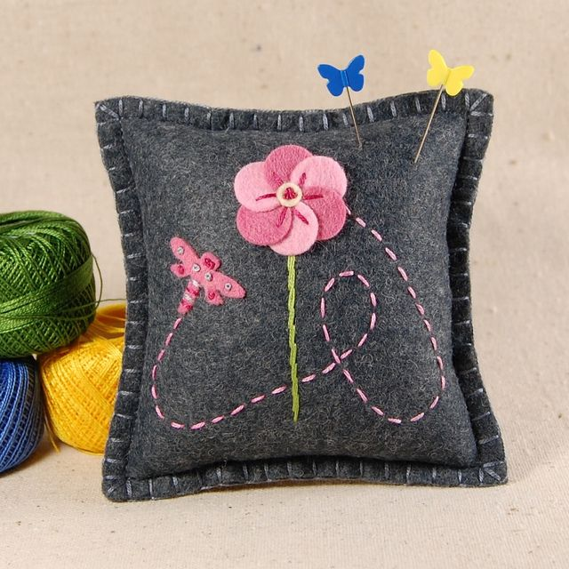 Dragonfly and Pink Flower Wool Felt Pincushion