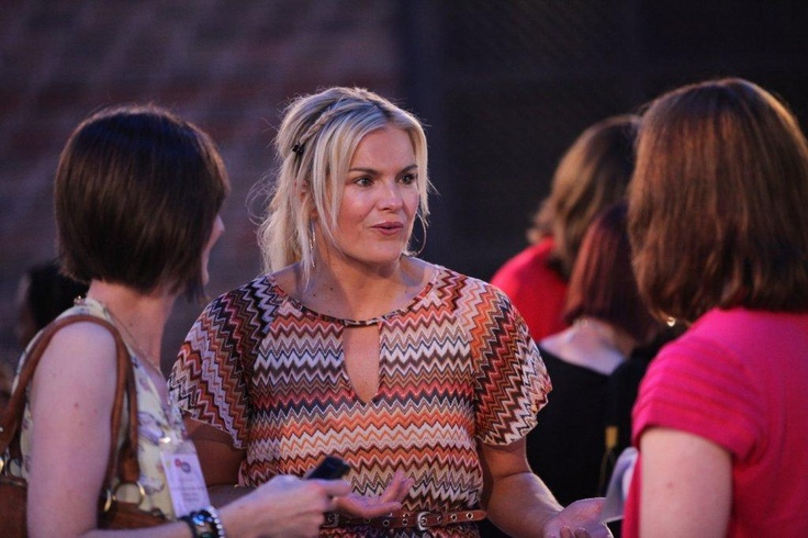Katy Hill chats with other bloggers at the BiBs party