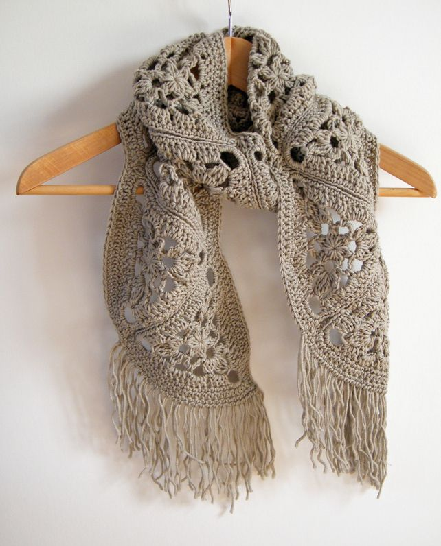Crocheting By Hand : OOAK cashmere scarf, crochet by hand, ready to ship ?45.00