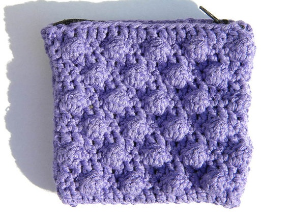 Violet crochet zipper pouch, little purse by applefacecreations