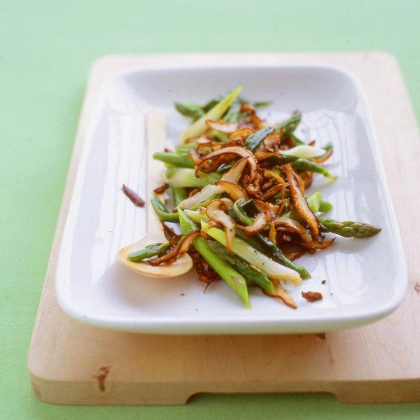 Sauteed Scallions, Mushrooms, and Asparagus Recipe