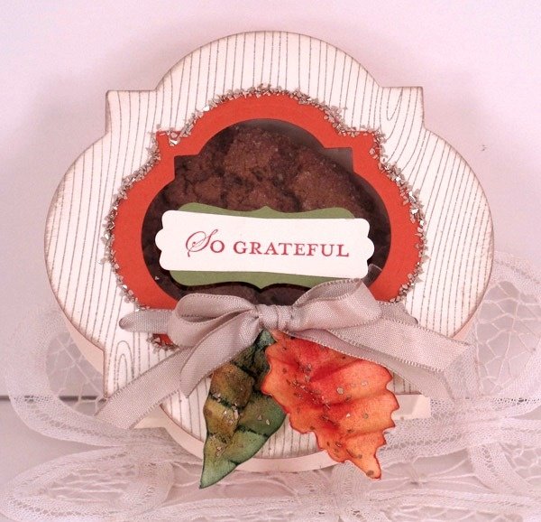 """Cindy Beach: """"There's nothing like yummy goodies wrapped with care that say """"You're special!"""" and bring a smile. I designed this box to share my gratitude and two of my favorite Ginger Oatmeal Crisp cookies."""" http://www.facebook.com/photo.php?fbid=10151207676882512"""