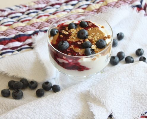 PB Greek Yogurt Parfait. Great idea for a higher protein, lower ...