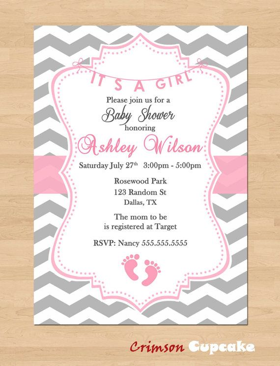 Printable Chevron Girl Pink Grey Baby Shower Invitation ...