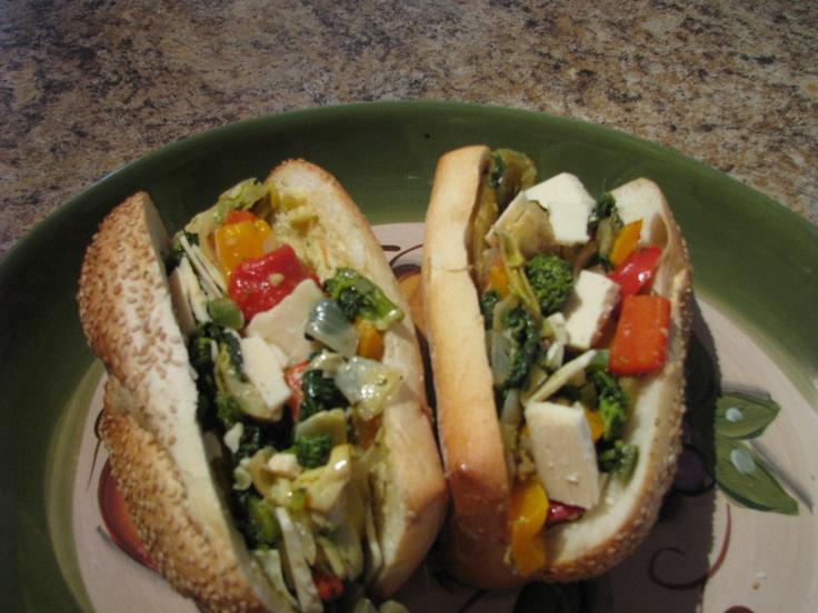 Italian Veggie mini hoagie w/ sharp provolone cheese..we can do any ...