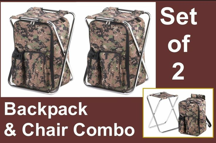Set of 2 backpack and chair combo camouflage camping fishing hunting