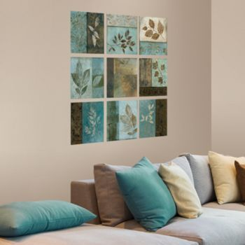blue and brown wall art