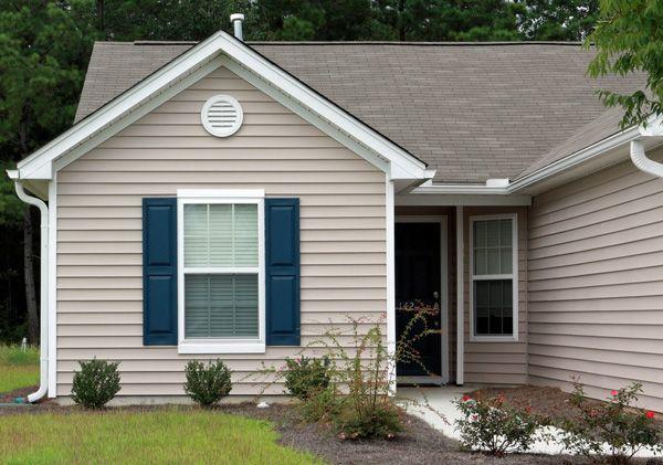 Blue shutters - Exterior paint blue decoration ...