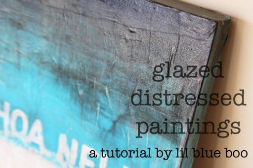 distressed canvas paintings: You'll need: Acrylic craft paints (I use the 99 cent bottle ones), Art canvas, Newspaper or phone book pages, Matte Medium, Gloss Varnish.  good idea, but there are some things that could be simplified....  might try to use something similar for my Corset/boudoir paintings for my bedroom :)