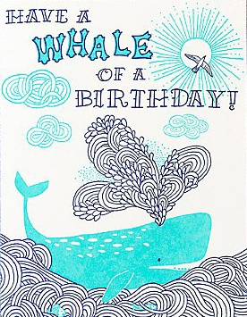 handmade whale birthday card from hello!Lucky