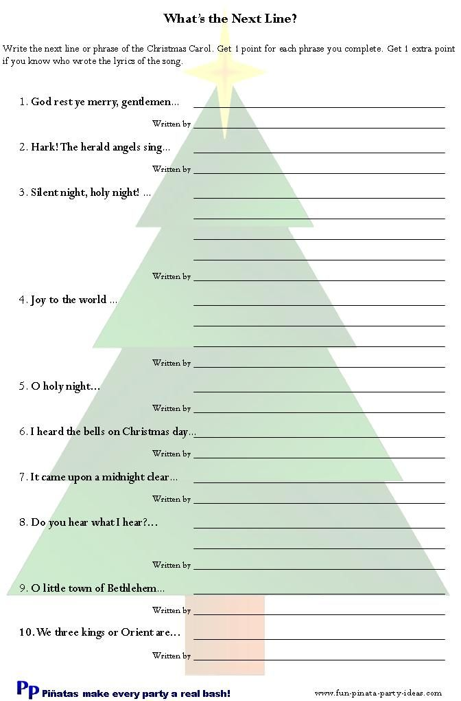 Free printable christmas song games