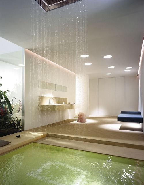 waterfall showers bathroom designs