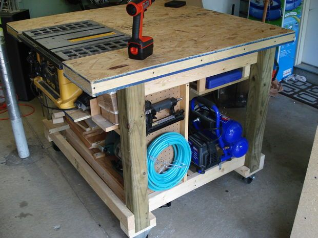 Garage Work Table/Bench | diy | Pinterest