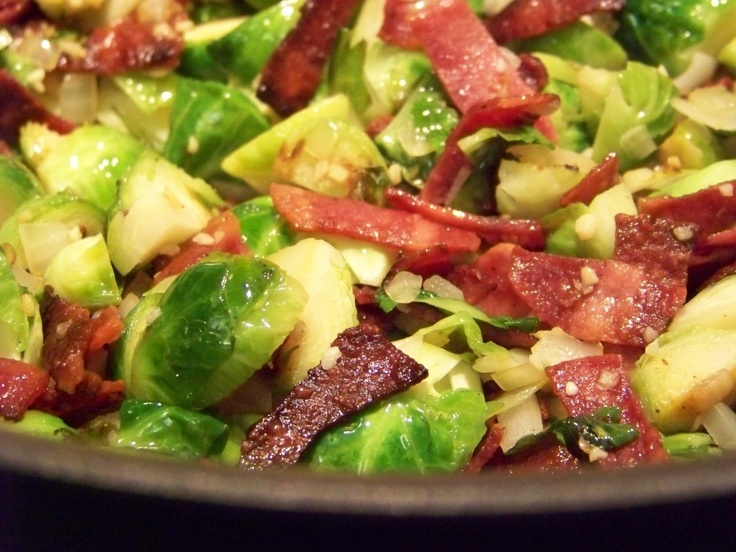 Brussel Sprouts with Apple, Bacon and Balsamic - this was really good ...
