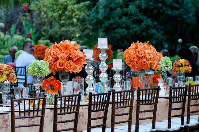 Beautiful colors, floral arrangements at an outdoor wedding